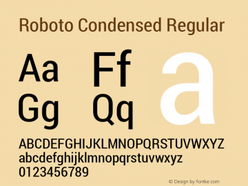 Roboto Condensed Regular Version 1.100138; 2012图片样张