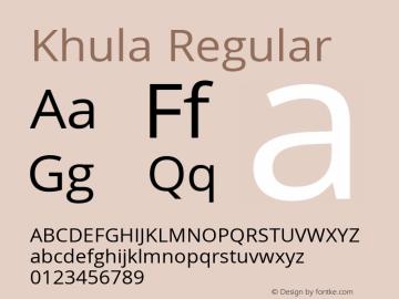 Khula Regular Version 1.001;PS 1.0;hotconv 1.0.72;makeotf.lib2.5.5900; ttfautohint (v1.1) -l 8 -r 50 -G 200 -x 14 -D deva -f latn -w G图片样张