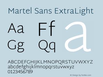 Martel Sans ExtraLight Version 1.002; ttfautohint (v1.1) -l 5 -r 5 -G 72 -x 0 -D latn -f none -w gGD -W -c图片样张