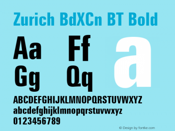 Zurich BdXCn BT Bold mfgpctt-v4.4 Dec 17 1998 Font Sample
