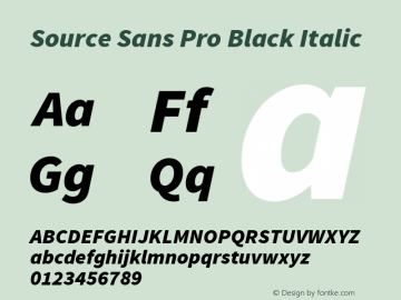 Source Sans Pro Black Italic Version 1.050;PS 1.000;hotconv 1.0.70;makeotf.lib2.5.5900图片样张