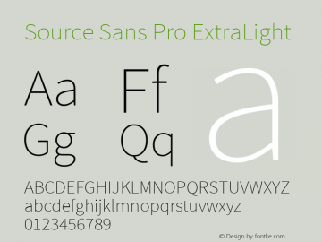 Source Sans Pro ExtraLight Regular Version 1.050;PS 1.000;hotconv 1.0.70;makeotf.lib2.5.5900图片样张