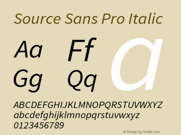 Source Sans Pro Italic Version 1.050;PS 1.000;hotconv 1.0.70;makeotf.lib2.5.5900图片样张