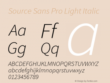 Source Sans Pro Light Italic Version 1.050;PS 1.000;hotconv 1.0.70;makeotf.lib2.5.5900图片样张
