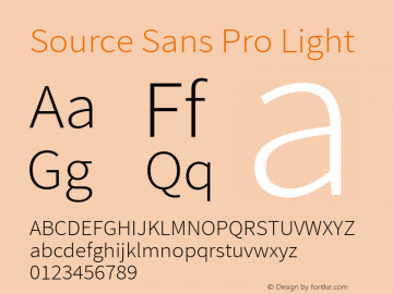 Source Sans Pro Light Regular Version 1.050;PS 1.000;hotconv 1.0.70;makeotf.lib2.5.5900图片样张