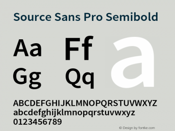 Source Sans Pro Semibold Regular Version 1.050;PS 1.000;hotconv 1.0.70;makeotf.lib2.5.5900图片样张