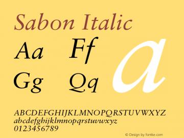 Sabon Italic OTF 1.0;PS 001.000;Core 1.0.22 Font Sample