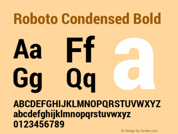 Roboto Condensed Bold Version 1.100141; 2013图片样张