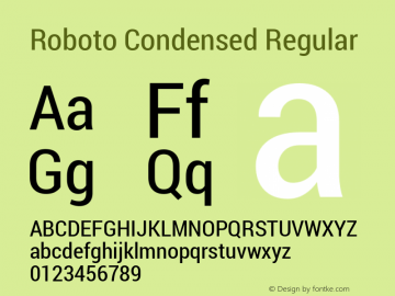 Roboto Condensed Regular Version 1.100141; 2013图片样张
