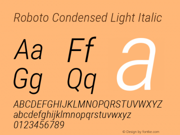 Roboto Condensed Light Italic Version 2.000980; 2014图片样张