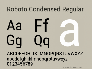 Roboto Condensed Regular Version 2.000980; 2014图片样张