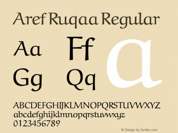 Aref Ruqaa Version 1.0g based on 0.7图片样张