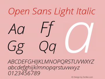 Open Sans Light Italic Version 1.10图片样张