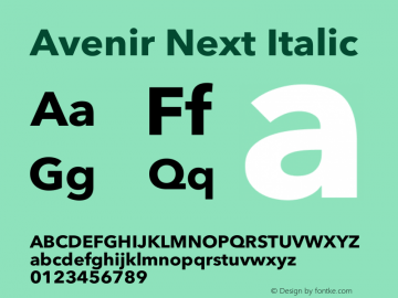 Avenir Next Italic 12.0d1e9图片样张