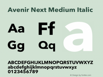 Avenir Next Medium Italic 12.0d1e9图片样张