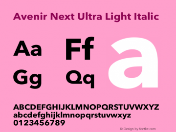 Avenir Next Ultra Light Italic 12.0d1e9图片样张
