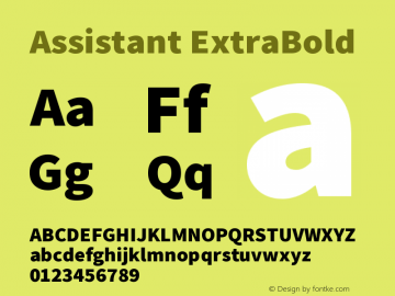 Assistant-ExtraBold Version 2.001;PS 002.001;hotconv 1.0.88;makeotf.lib2.5.64775图片样张