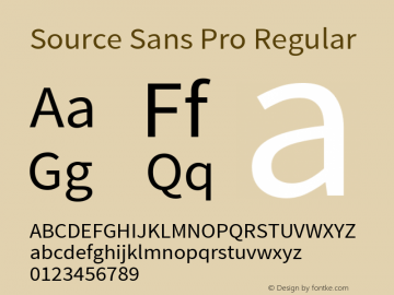 Source Sans Pro Regular Version 1.050;PS Version 1.000;hotconv 1.0.70;makeotf.lib2.5.5900图片样张