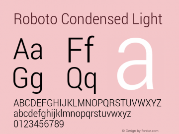 Roboto Condensed Light Version 1.100141; 2013图片样张