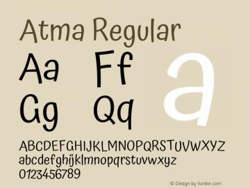 Atma Regular Version 1.102;PS 1.100;hotconv 1.0.86;makeotf.lib2.5.63406图片样张