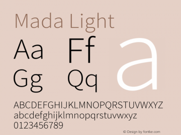 Mada Light Version 001.005 ; ttfautohint (v1.5.33-1714) -l 8 -r 50 -G 200 -x 0 -D latn -f arab -w G -W -c -X