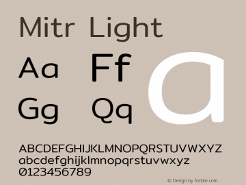 Mitr Light Version 1.003 Font Sample