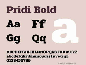 Pridi Bold Version 1.001图片样张