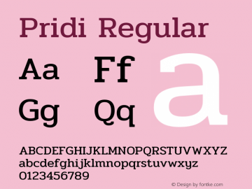 Pridi Regular Version 1.001图片样张