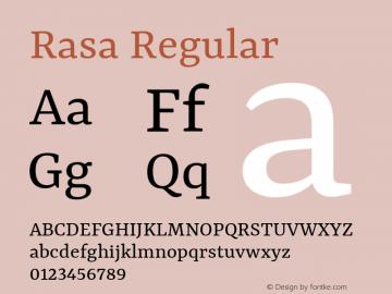 Rasa Regular Version 1.001;PS 1.001;hotconv 1.0.88;makeotf.lib2.5.647800; ttfautohint (v1.3.34-f4db)图片样张