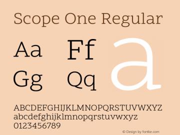 Scope One Version 1.001; ttfautohint (v1.4.1) -l 11 -r 50 -G 50 -x 14 -D latn -f latn -m