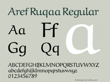 Aref Ruqaa Regular Version 1.0g based on 0.7图片样张