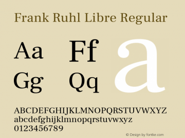 Frank Ruhl Libre Regular Version 5.001图片样张