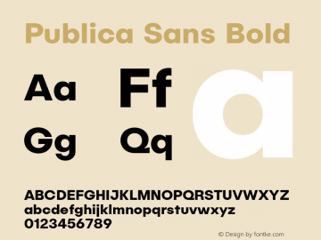 Publica Sans Bold Version 1.000;PS 001.000;hotconv 1.0.88;makeotf.lib2.5.64775图片样张
