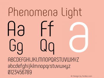 Phenomena Light Regular Version 1.000;PS 001.000;hotconv 1.0.88;makeotf.lib2.5.64775图片样张