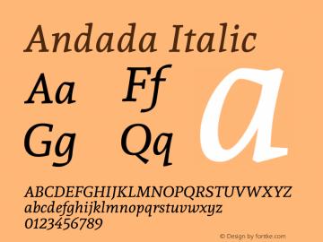 Andada Italic Version 1.003 Font Sample