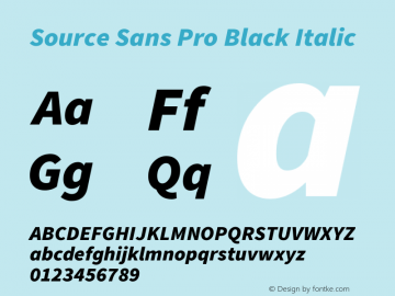 Source Sans Pro Black Italic Version 1.065;PS 2.0;hotconv 1.0.78;makeotf.lib2.5.61930图片样张