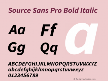 Source Sans Pro Bold Italic Version 1.065;PS 2.0;hotconv 1.0.78;makeotf.lib2.5.61930图片样张