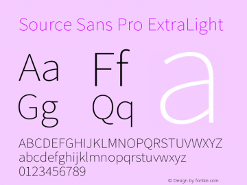 Source Sans Pro ExtraLight Version 2.010;PS 2.0;hotconv 1.0.78;makeotf.lib2.5.61930图片样张