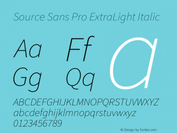 Source Sans Pro ExtraLight Italic Version 1.065;PS 2.0;hotconv 1.0.78;makeotf.lib2.5.61930图片样张