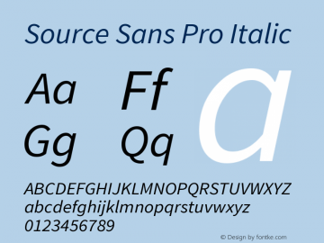Source Sans Pro Italic Version 1.065;PS 2.0;hotconv 1.0.78;makeotf.lib2.5.61930图片样张