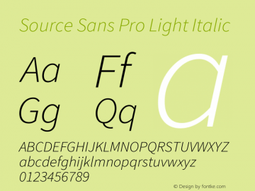 Source Sans Pro Light Italic Version 1.065;PS 2.0;hotconv 1.0.78;makeotf.lib2.5.61930图片样张