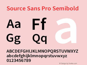 Source Sans Pro Semibold Version 2.010;PS 2.0;hotconv 1.0.78;makeotf.lib2.5.61930图片样张