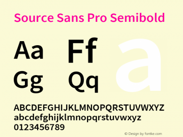 Source Sans Pro Semibold Version 2.020;PS 2.000;hotconv 1.0.86;makeotf.lib2.5.63406图片样张