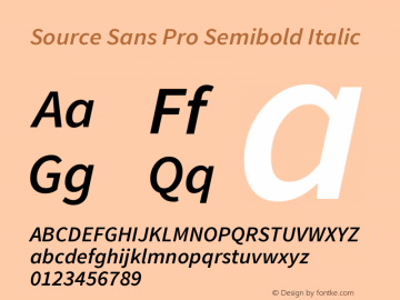 Source Sans Pro Semibold Italic Version 1.065;PS 2.0;hotconv 1.0.78;makeotf.lib2.5.61930图片样张