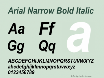 Arial Narrow Bold Italic Version 2.20图片样张