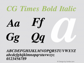 CG Times Bold Italic Version 1.3 (Hewlett-Packard)图片样张
