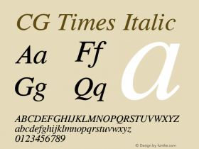 CG Times Italic Version 1.3 (Hewlett-Packard)图片样张