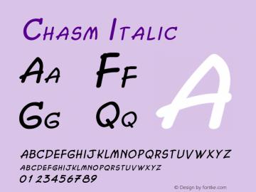 Chasm Italic Altsys Fontographer 4.1 2/2/95图片样张