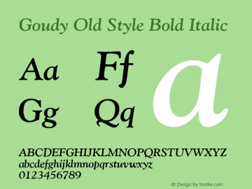 Goudy Old Style Bold Italic Version 1.3 (Hewlett-Packard)图片样张