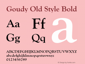 Goudy Old Style Bold Version 1.50图片样张